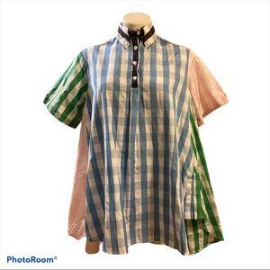 Thom Browne Color block plaid button up shirt